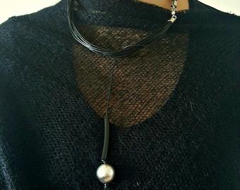 Black minimalist necklace Christmas gift Bib necklace Leather necklace Contemporary jewelry Asymmetrical jewelry Modern necklace.