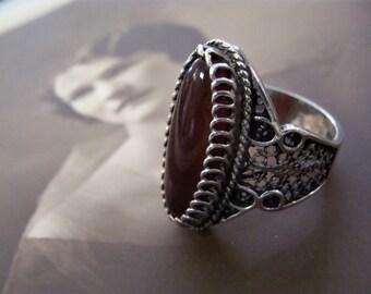 Heavy Sterling Silver Filigree & Carnelian Ring Size 9