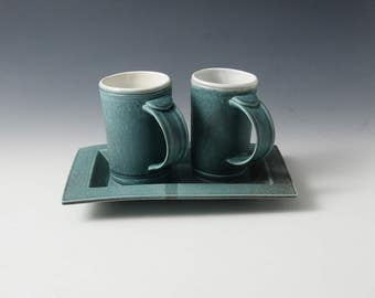 Turquoise, Porcelain wedding set with Tray. The consumate wedding gift!! Demi-sized mugs perfect for coffee or juices!