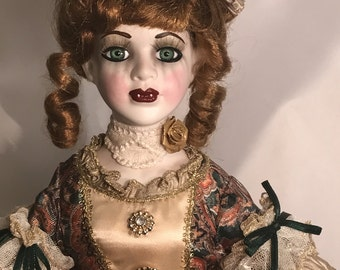 Hand Painted Vampire Doll, Creepy Girl Doll, Sugar Skull Doll , Living Dead, Undead, Porcelain Art Doll