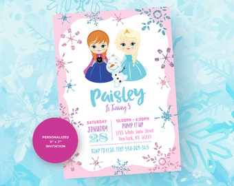 Frozen Invitation. Frozen Party. Frozen Birthday. Winter Wonderland Invitation. Frozen Printable.