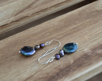 Midnight coin pearl dangle earrings on silver french hook ear wires.