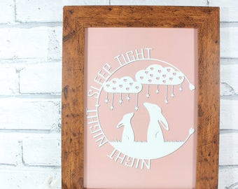HALF PRICE!! - PRINT - Night night sleep tight in pale pink- print from original papercut by QueenieDot