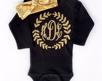 Baby Girl Monogram Bodysuit, Fancy Monogram Baby Girl, Newborn Take Home Outfit, Newborn Girl Outfit, Personalized Baby, Gold Baby Headband