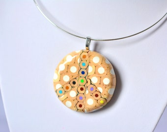 Ring pendant necklace from colored pencils Peace Please