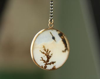 Dendritic Agate Necklace 14k gold oxidized sterling silver, gemstone necklace, handmade, gift for her, fair trade eco friendly, pendant