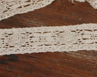 Reclaimed lace remnants, Tea dyed 1.5 inch wide cotton lace, 2 plus yard lot, lace trim yardage, mixed media, craft supply