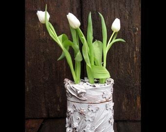 Tulip,white ceramic flowers vase box