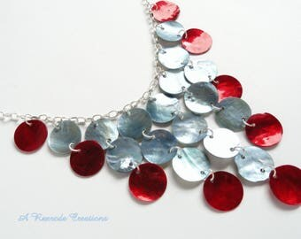 Red Waterfall Necklace / Bib Necklace / Womens Necklace / Cascading Shell Necklace / Fashion Necklace / Beach Jewelry / Beach Necklace