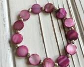Hot Pink / Magenta Circular Flat Round Glass Beaded Bracelet