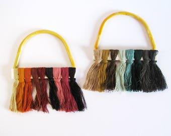 Yellow Purse Handles - Set of Vintage Purse Handles - Plastic Handles - Mid Century Fashion Accessory Supply - Craft Supplies Macramé Hanger