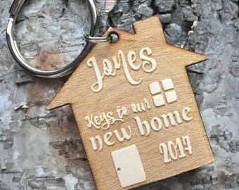 Engraved Wood Personalized New Home Housewarming Key Chain