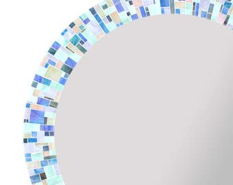 Large Bathroom Mirror For Blue Dcor In Mosaic Stained Glass Tiles 5 Sizes