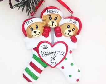 3 Bears Family Ornament / Bears in Stockings with Heart Personalized Christmas Ornament / Personalized Ornament