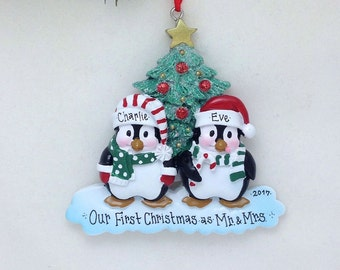 FREE SHIPPING Happy Christmas Penguins personalized Christmas ornament / First Christmas / Whimsical Couple ornament