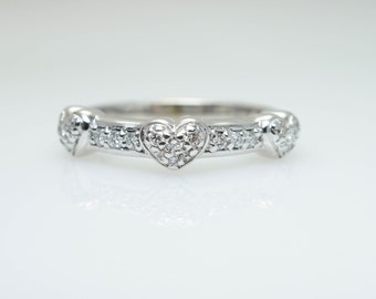 Vintage .19CTW Diamond Special Heart Anniversary Band Wedding Ring Valentines Ring Valentines Day Jewelry