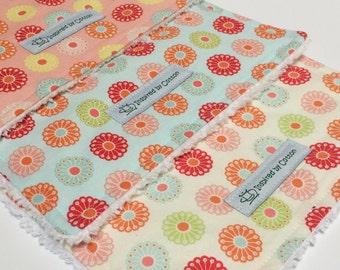 Baby Burp Cloths - Burp Cloth Set - Baby Girl Burp Cloth - Modern Burp Cloth - Baby Gift - Baby Shower Gift - Flowers - Girl Burp Cloth