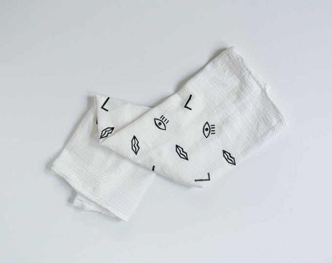 Confetti Face - Tea Towel - Black and White