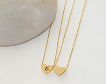 Personalized Jewelry, Gold Heart Necklace, Gold Jewelry, Gold Heart Charm