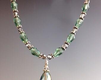Swarovski Crystal necklace, Crystal necklace, Swarovski necklace, sterling necklace, smoky green jewelry, womens jewelry, British Isles