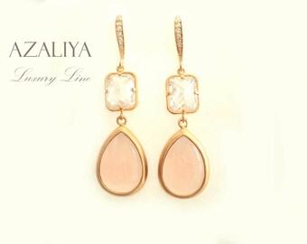 Bridal Chandeliers Pink & White. Azaliya Luxury Line. Wedding, Bridesmaid Earrings. Dangles.