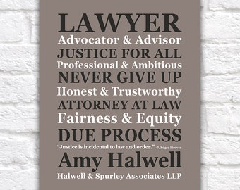 Gift for Lawyer, CUSTOM NAME Attorney at Law Office Sign, Law Partner, Justice, Judge, American Legal System, Barrister, Paralegal | WF235