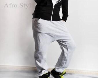 light gray baggy trousers, drop crotch pants, tracksuit, sweatpants, harem pants