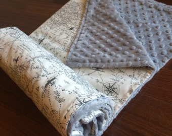 "25""X35"" Airplanes Blanket grey and beige , grey Bubble Dot Minky,"