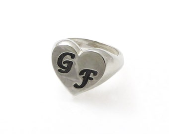 Heart monogram ring. College ring. Initial ring. Silver monogram ring. Women initial band. Heart initial ring. Silver ring. 2132