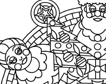 christmas mandala coloring page adult coloring page santa clause coloring page instant download - Christmas Mandalas Coloring Book