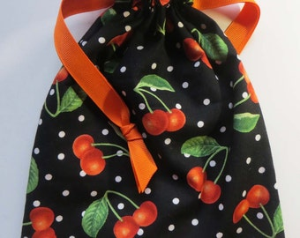 Life is just a bowl of cherries - Lined Drawstring Fabric Gift Bag