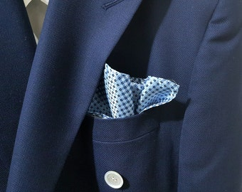 SILK Pocket Square in Light Sky Blue Navy and White