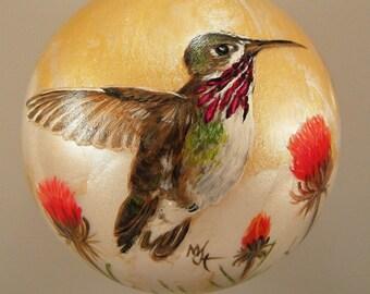Hand Painted Glass Christmas Ornament - Calliope Hummingbird