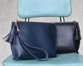 Everyday Leather Wristlet / Handmade Leather Clutch / Woman's leather clutch