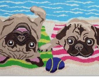 Needlepoint Handpainted LIORA MANNE Dog Pug Life 14 x 9.5 -Free US Shipping!!!