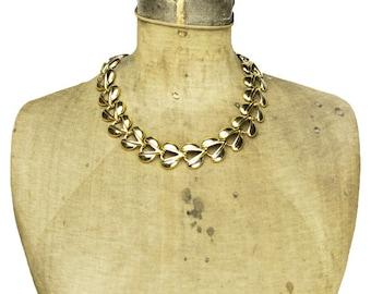 Vintage Gold Link Necklace, Chunky Gold Necklace, Wide Gold Necklace, Gold Collar Necklace