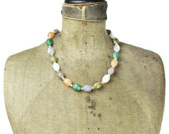 Vintage Rainbow Bead Necklace, Colorful Bead Necklace, Vintage Lucite Pastel Bead Necklace