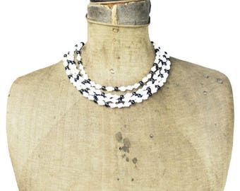 West Germany Black and White Bead Necklace, White and Black Bead Necklace, Multi Strand Black and White Necklace, White Glass Bead Necklace