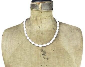 Vintage Long White Bead Necklace, Long Milk Glass Necklace, Long White Glass Bead Necklace
