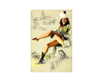 Pin Up Girl  The Russian - Vintage Poster Print Retro Style Art Decoration US Free US Post Low EU Post