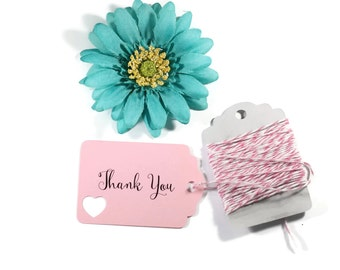 Light Pink Heart Thank You Tags Set of 20 - Light Pink Favor Tags - Wedding Gift Tags - Pink Bridal Shower Tags - Custom Pink Wedding Tags