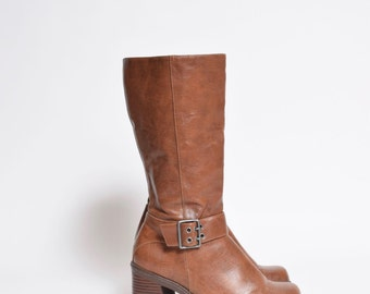 Vintage 90's Brown Leather Tall Platform Boots with Side Buckle