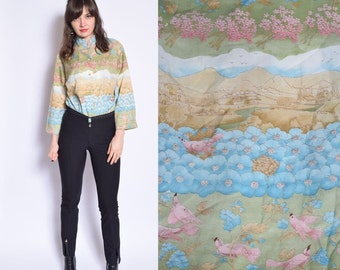 Vintage 80's Village Print Button Shirt / Bird Print Button Blouse / Panoramic Print Blouse /Long Sleeve Shirt - Size Large/L