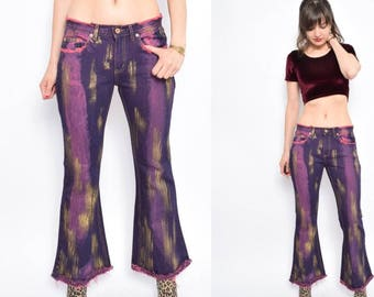 Vintage 90's Purple Painted Flared Jeans / Low Waist Pink Purple Jeans / Frayed Purple Jeans - Size Small