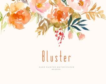 Watercolour Flower Header Clipart - Bluster