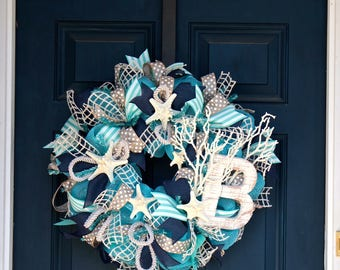 Beach Wreath with Letter