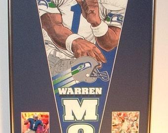 Vintage Seattle Seahawks Warren Moon Pennant & Cards...Custom Framed!