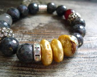 labradorite  bracelet, Freshwater pearl bracelet, yoga bracelet,, big freshwater pearl bracelet, 12 mm agate elastic bracelet,charm bracelet