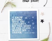 Famous quotes, Van Gogh quote print, square digital download quote, printable quotes, star printable wall art quotes, sight of the stars