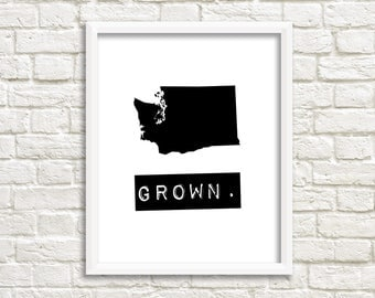 Washington prints, custom map art, digital download black and white printable, Washington state print, Washington home sign, home state sign